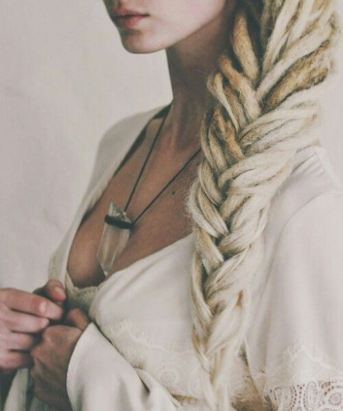 extreme blonde three strand braid women dreadlocks styles