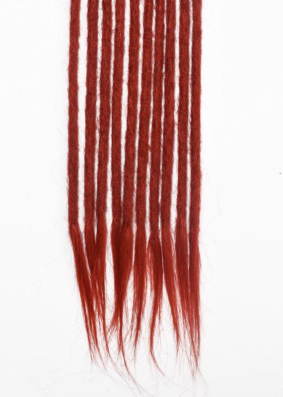 Red human hair dreadlocks extensions